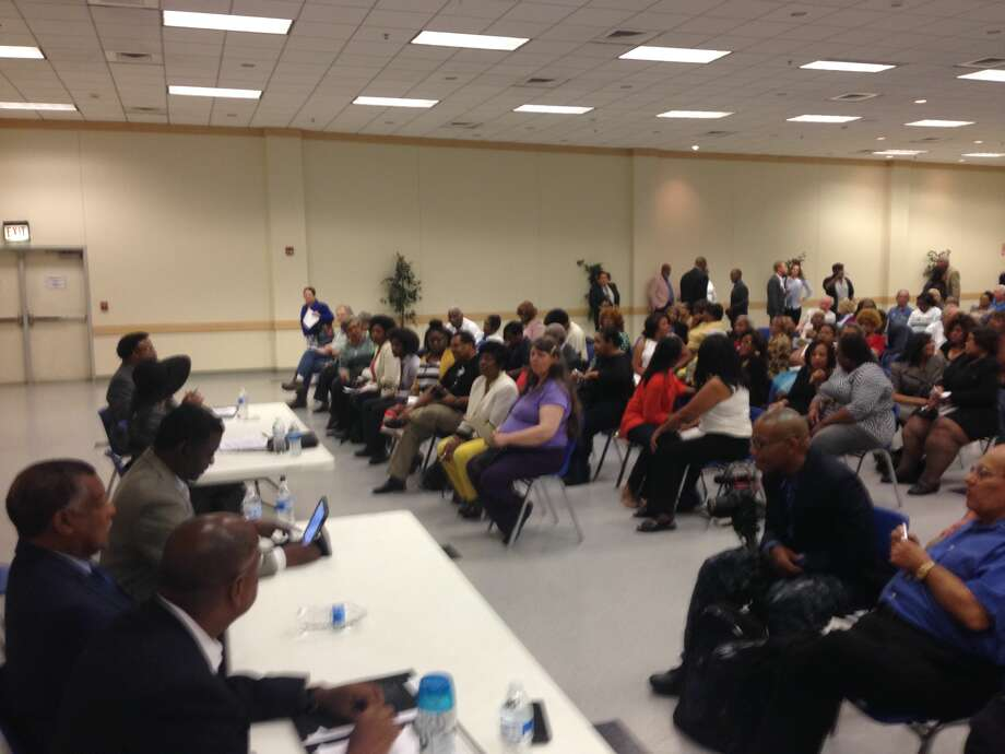 Candidates answer questions at Precinct 1 commissioner Democratic Party forum. Photo: Mihir Zaveri