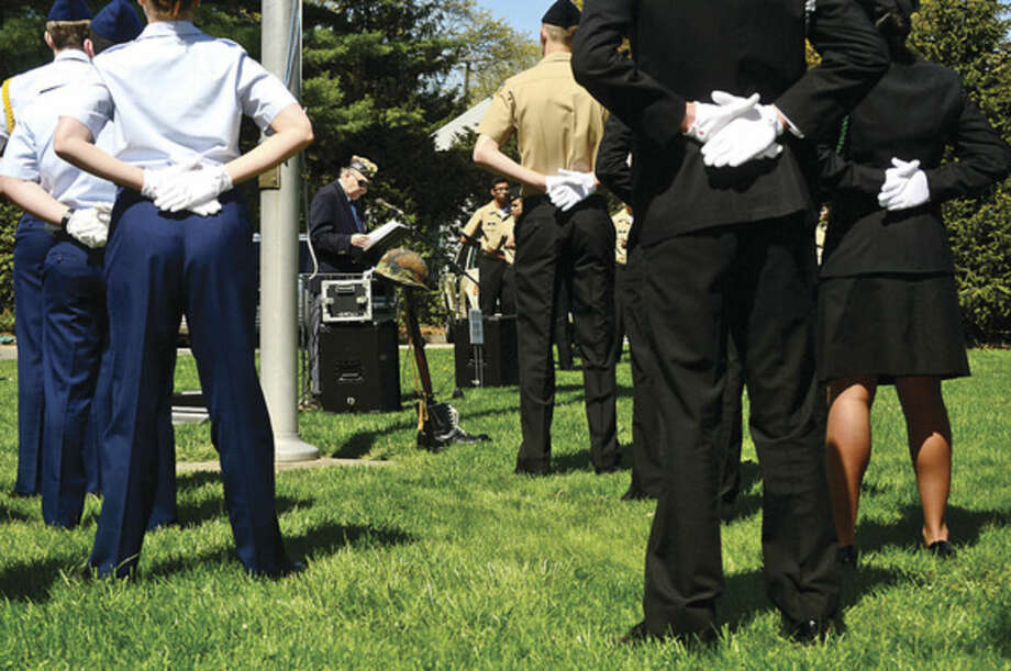 Hour photo / Erik TrautmannAmerican Legion Post 12 Chairman of the House Committee, Leo Motyka, conducts the Veteran of the Month ceremony in honor of Army Air Corpsman Joseph P. Lorenti Sr. during a ceremony Sunday.