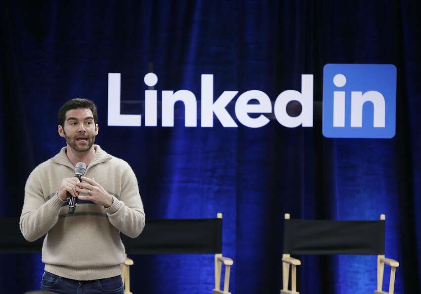 In this Nov. 6, 2014, file photo, LinkedIn CEO Jeff Weiner speaks during the company's second annual