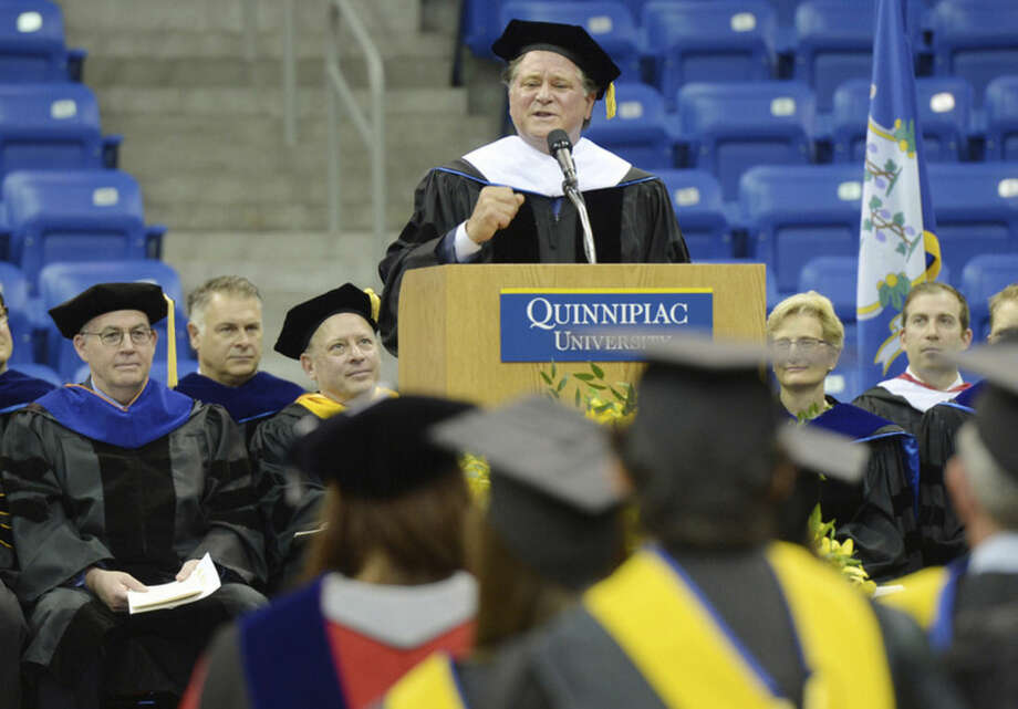 Stew Leonard Jr. speaks during Quinnipiac University graduate commencement exercises Saturday May 9, 2015, TD Bank Sport Center on the York Hill campus in Hamden, Conn. (Photograph by John Hassett / for Quinnipiac University)