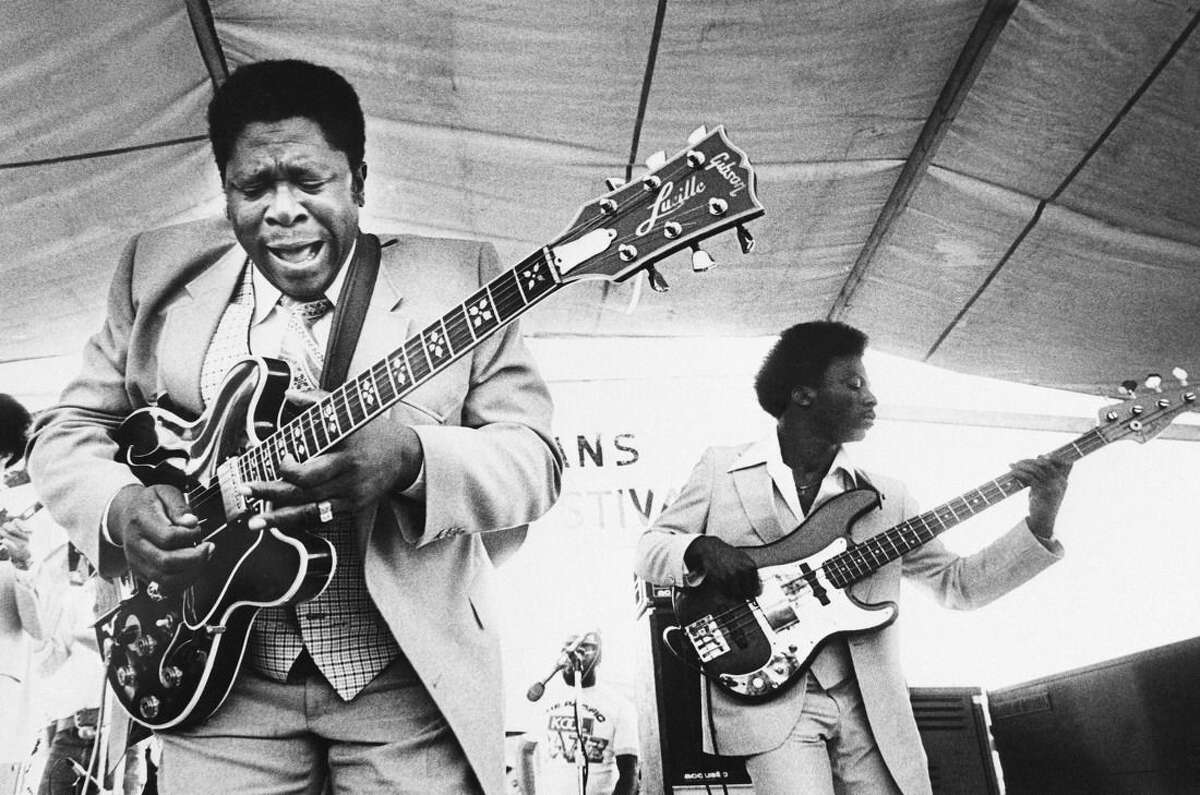 FILE - In this April 21, 1980 file photo, B.B. King, left, and an accompanist perform during the opening of the 1980 New Orleans Jazz and Heritage Festival. King died Thursday, May 14, 2015, peacefully in his sleep at his Las Vegas home at age 89, his lawyer said. (AP Photo, File)