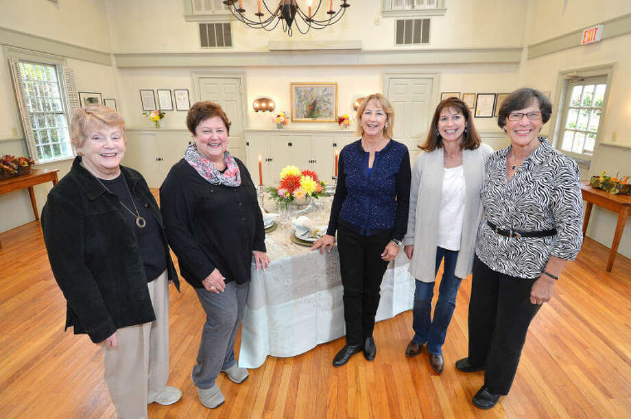 Hour Photo/Alex von Kleydorff. L-R Board Member Carol Russell, Rental SAgent Sue Wall, Wilton Garden Club President Nan Merolla Vice President Suzanne Knutson and Board Member Linda Schmidt inside the Old Town Hall