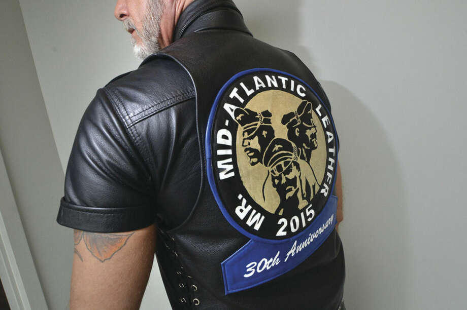 Hour Photo/Alex von Kleydorff David Gerard Mr. Mid Atlantic Leather 2015, and the one of a kind vest with patch for his accomplishment