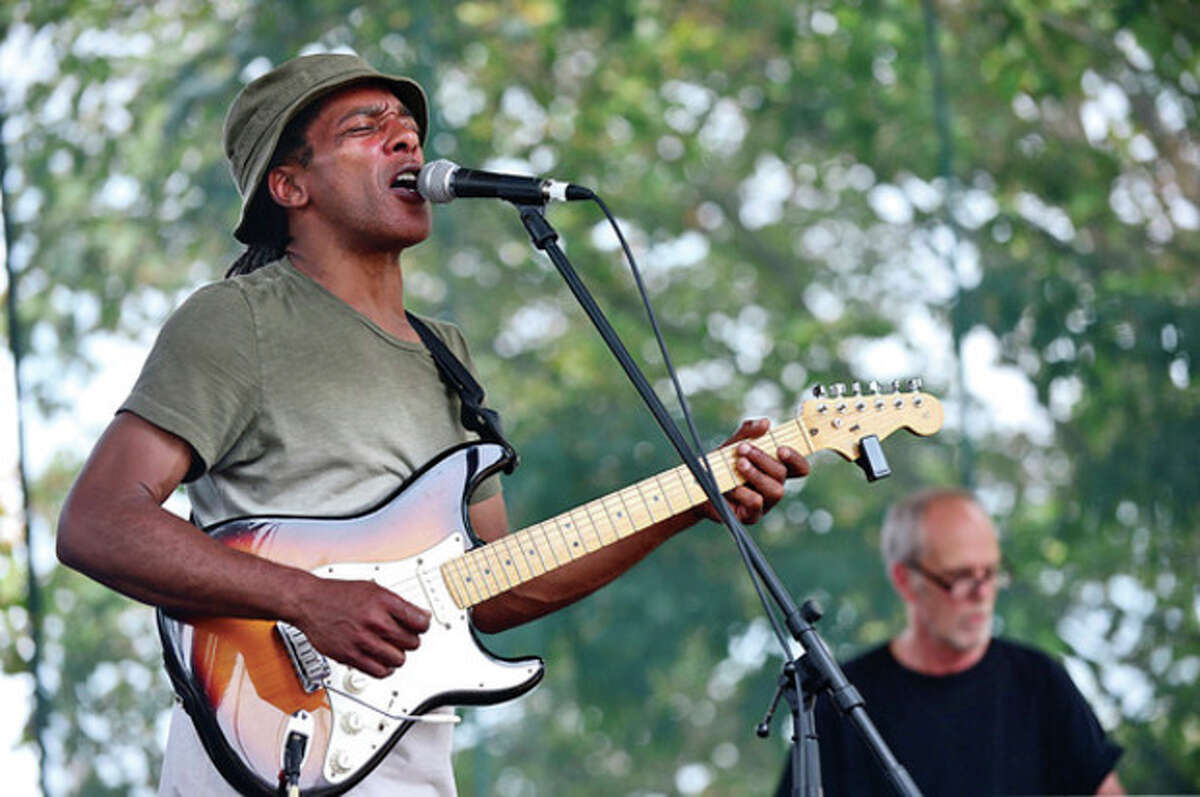 Clarence Spady plays guitar during Westport's 5th annual Blues Views and BBQ at Jesup Green Saturday. Hour photo / Erik Trautmann