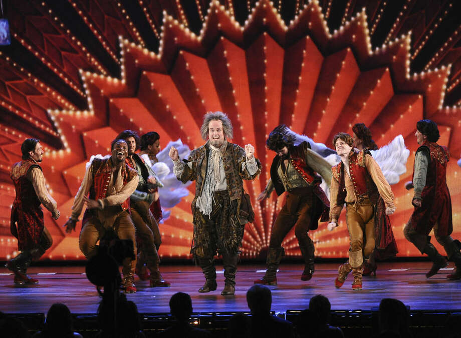 "The cast of ""Something Rotten!"" performs at the 69th annual Tony Awards at Radio City Music Hall on Sunday, June 7, 2015, in New York. (Photo by Charles Sykes/Invision/AP)"