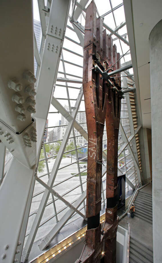 A pair of World Trade Center tridents, that once formed part of the exterior structural support of the east facade of the building, stand in the Sept. 11 Museum, in New York, Wednesday, May 14, 2014.Leaders of the soon-to-open Sept. 11 museum are portraying it as a monument to unity and resilience. (AP Photo)