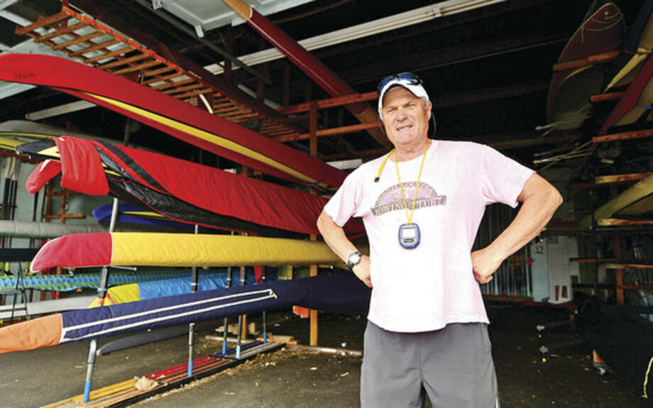Hour photo/Erik TrautmannMartime Rowing owner Yan Vengerovskiy at the rowing facility on Goldstein Place. Maritime Rowing has had recent success at the US Rowing National Youth Championships and has produced Olympic, world and national champions over the years.
