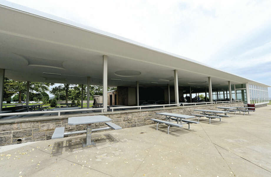 Hour photo / Erik Trautmann State Park advocates and state and local officails held a ceremony for the newly renovated Sherwood Island State Park Pavillion Tuesday afternoon.