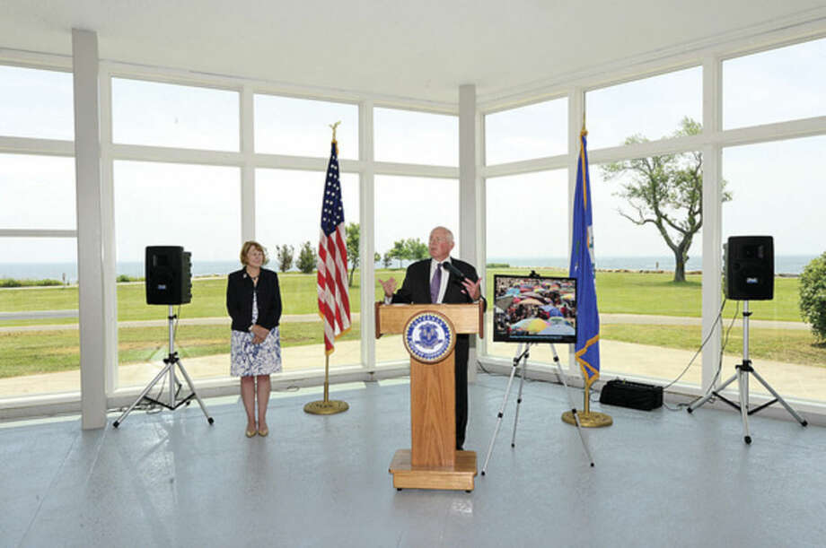 Hour photo / Erik Trautmann Westport First Selectman Jim Marpe addresses State Park advocates and officials during a ceremony for the newly renovated Sherwood Island State Park Pavillion Tuesday afternoon.