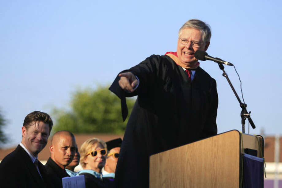 Hour Photo/Chris Palermo. Stamford Mayor David Martin addresses the graduating class during the Westhill High School class of 2014 commencement ceremonies Thursday evening.