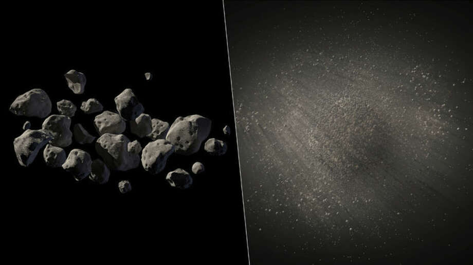 This undated handout two-picture combo of artist conceptions provided by NASA/JPL Caltech shows what NASA says are good candidates for a mission to capture an asteroid, haul it to the moon for astronauts to visit. One prime candidate swung close by Earth in 2011 so astronomers know its size, about 20 feet, mass and density, but they don't really know what it looks like. These images are two different artist conceptions of what the lightweight asteroid could look like, either a pile of small rocks flying together in formation, left, or a larger porous rock with pebbles surrounding it, right. (AP Photo/NASA/JPL Caltech)
