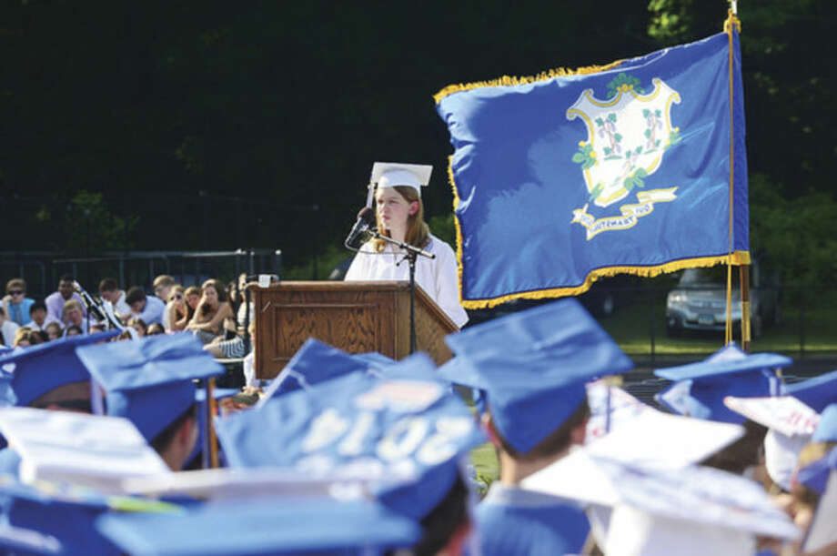 Hour photo / Erik Trautmann Wilton High School valedictorian Margaret Molly during the Class of 2014 commencement exercises Saturday.