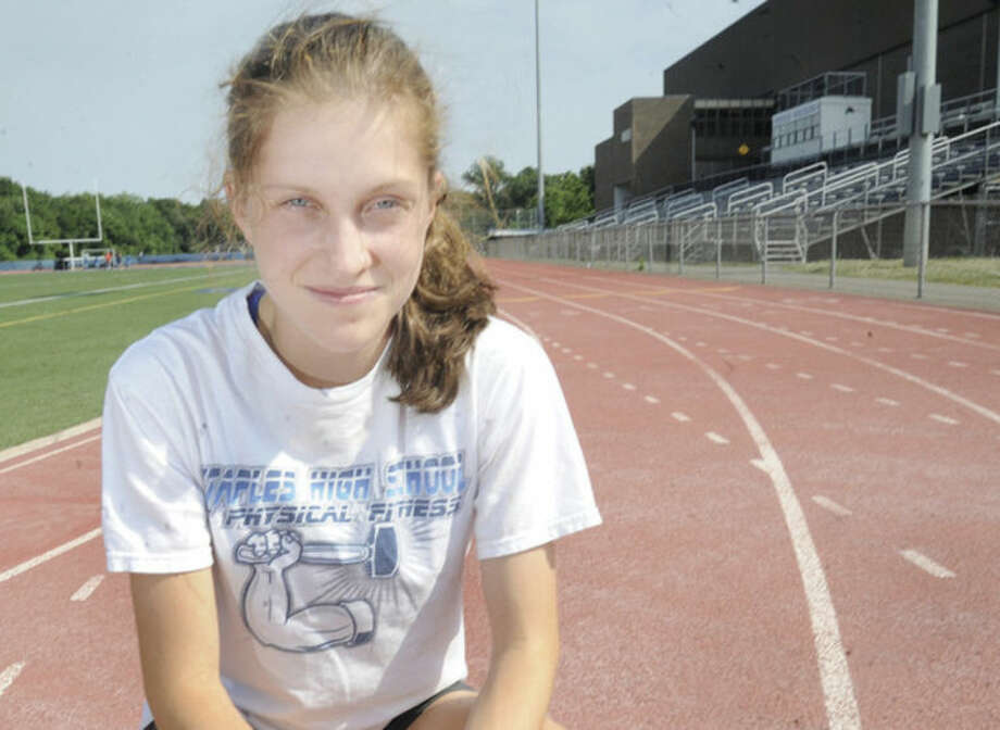 Hour photo/Matthew VinciHannah DeBalsi of Staples High School has emerged as not just one of the best runners in the state of the Connecticut, but one of the top runners in the nation, as well. DeBalsi is The Hour's All-Area girls track MVP for the outdoor season.