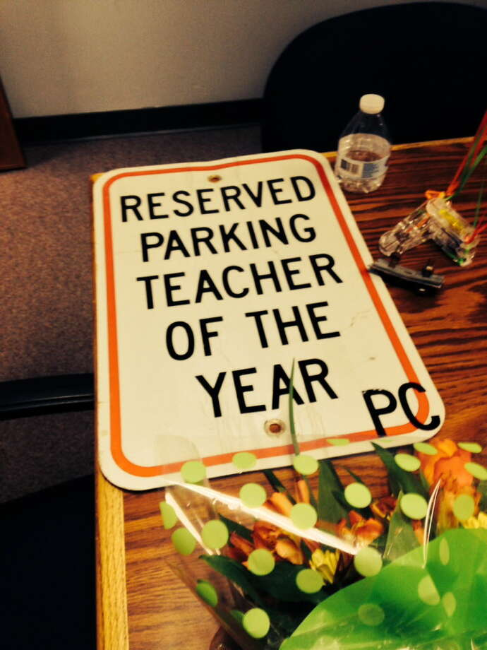 Along with the glory comes the reward of a dedicated parking space when you become Stratford Teacher of the Year Photo: Linda Conner Lambeck / Linda Conner Lambeck