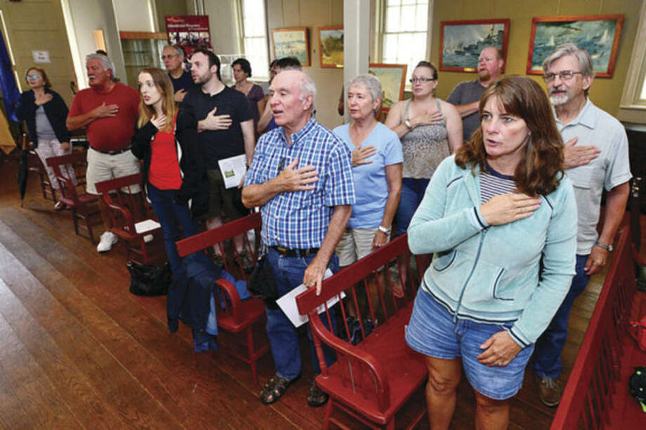 """Hour photo / Erik Trautmann Visitors recite the Pledge of Allegiance during The Norwalk Historical Society Independance Day """"Let Freedom Ring, National Bell Ringing Ceremony"""" Friday at Mill Hill Historic Park."""