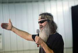 IOWA CITY, IA - JANUARY 31 : Duck Dynasty's Phil Robertson speaks about Republican presidential candidate Ted Cruz during a campaign event at the Johnson County Fairgrounds January 31, 2016 inIowa City, Iowa. Cruz is campaigning across the state on the eve of the Iowa caucuses.  (Photo by Joshua Lott/Getty Images)