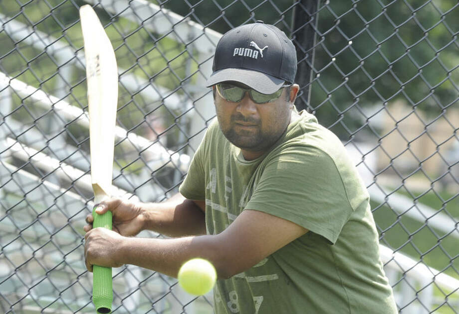 Sherry Thomas member of the Stamford Cricket Club at the fundraiser game held at Stamford's Lione Park that raised over $13000.00 for Americares for the thier most recent work in Nepal. Hour photo/Matthew Vinci