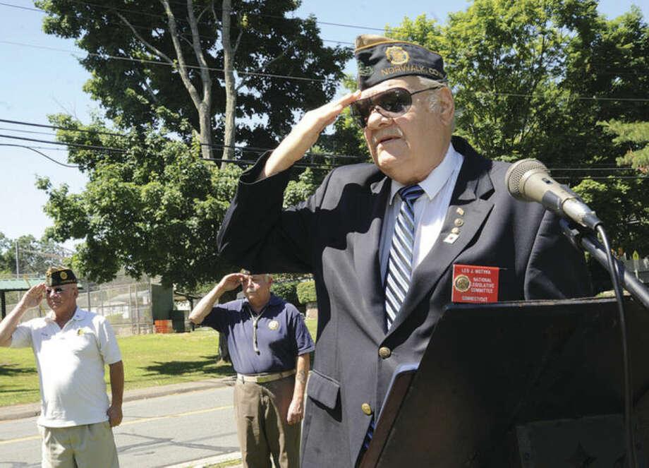 American Legion member Leo Motyka Sunday at the Post 12 Veteran of the Month ceremony. Hour photo/Matthew Vinci