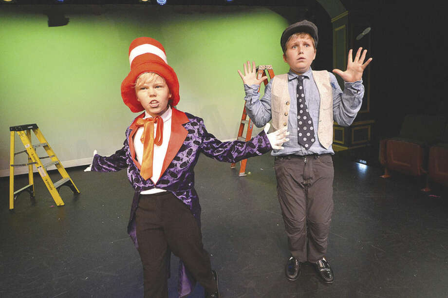 """Tristan Fraise as the Cat in the Hat and Karsten Rynearson as Horton rehearse a scene from """"Seussical Jr.,"""" at the Music Theatre of Connecticut School of Performing Arts, which premieres Friday, July 17."""