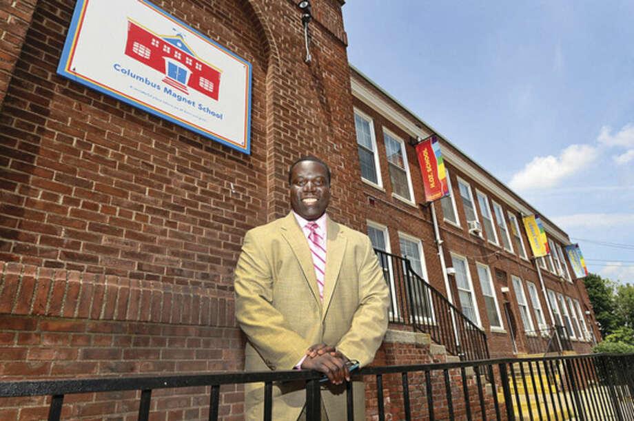 Hour photo/Erik TrautmannMedard Thomas, new principal of Columbus Magnet School .