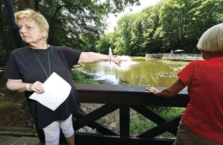 Hour photo / Erik Trautmann Rolling Ridge condominium resident Emy Jane Jones points out where water run from a proposed housing development at 69 Aiken St. would impact their property.