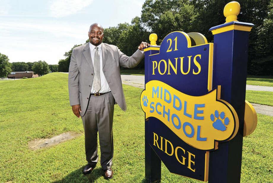 Hour photo/Erik TrautmannDamon Lewis, the new principal of Ponus Ridge Middle School.