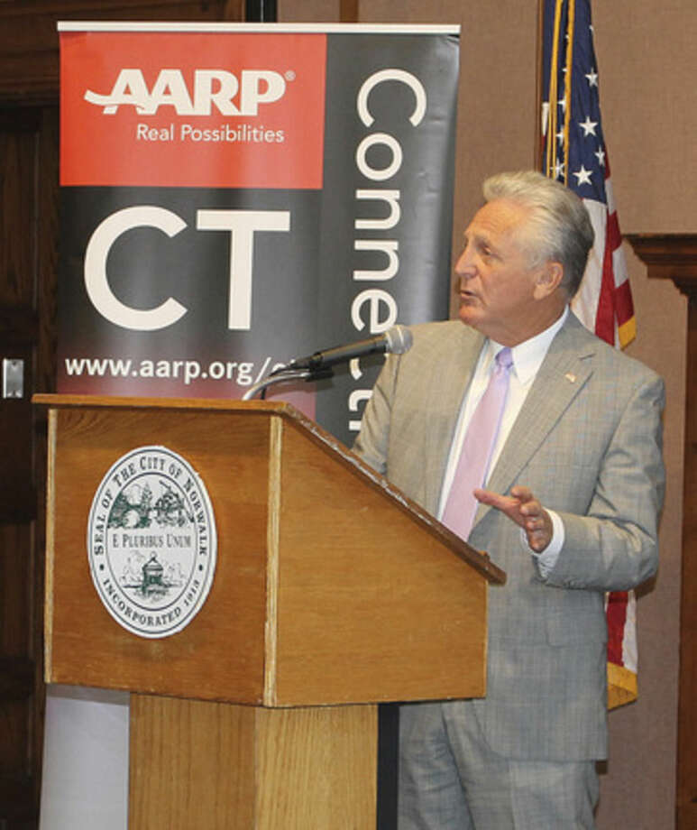 Hour Photo/ Rachel SawyerNorwalk Mayor Harry Rilling speaks at the AARP and SBA event on Wednesday at City Hall.