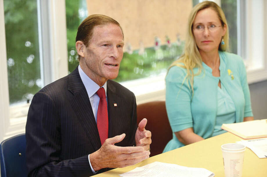 Hour photo / Erik TrautmannU.S. Senator Richard Blumenthal (D-Conn.), Scarlett Lewis of the Jesse Lewis Choose Love Foundation, educators and experts discuss the importance of social and emotional learning Tuesday at the Child Guidance Center of Mid-Fairfield County in Norwalk.