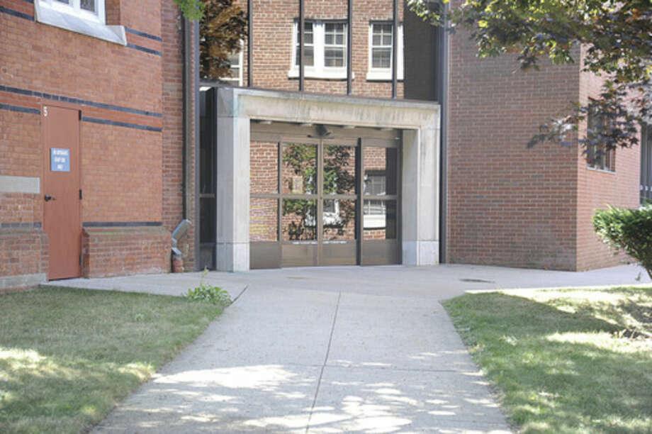 The Norwalk Library rear entrance. Hour photo/Matthew Vinci