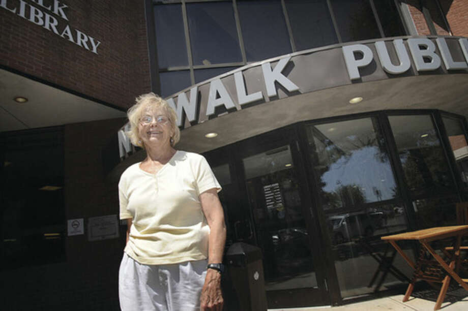Norwalk resident Debbie Chappell, likes the new plan for exteneded parking at the Norwalk Library. Hour photo/Matthew Vinci