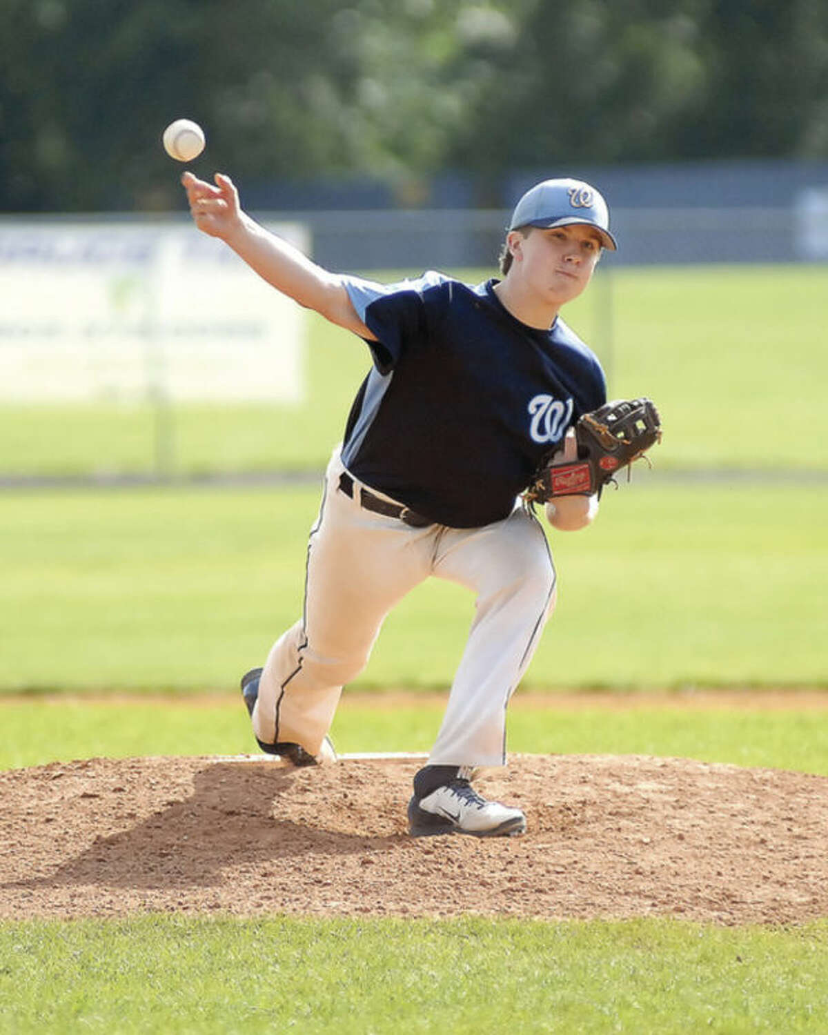Hour photo/John Nash Wilton Junior Legion pitcher Glenn O'Brien hurled a complete-game, two-hit shutout over Zone 4 champ Trumbull during Monday's state tournament game in Trumbull. Wilton won 3-0.