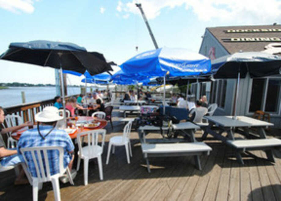 Photo by Frank WhitmanEating on the deck at SoNo Seaport Seafood.