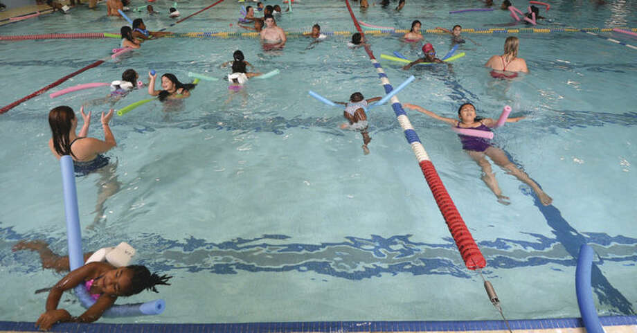 Hour Photo/Alex von Kleydorff Carver Center kids learn about Water Safety at The Wilton Family Y