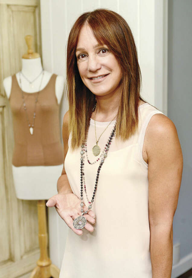 """Hour photo / Erik TrautmannWestport resident Phylis Kurzer has created a jewelry company called Karma Mala, which donates 100 percent of its proceeds to a project called, """"Stop Girl Trafficking."""""""