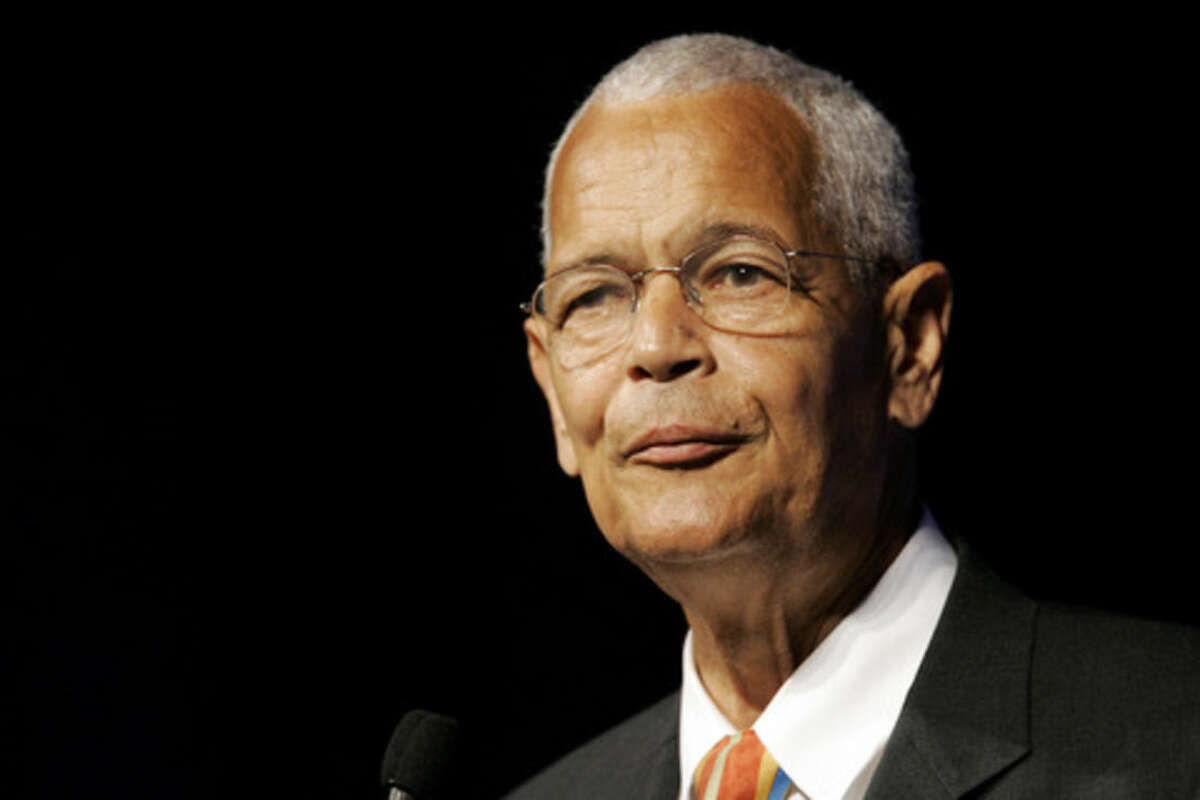FILE- In this July 8, 2007, file photo shows NAACP Chairman Julian Bond addresses the civil rights organization's annual convention in Detroit. Bond, a civil rights activist and longtime board chairman of the NAACP, died Saturday, Aug. 15, 2015, according to the Southern Poverty Law Center. He was 75. (AP Photo/Paul Sancya, File)