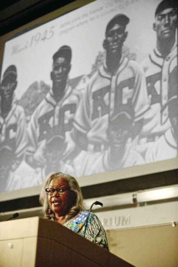 Hour photo / Erik Trautmann The University of Connecticut-Stamford celebrates their 10th annual Black History Month Celebration Thursday with the Keynote Speaker Sharon Robinson, daughter of baseball legend Jackie Robinson.
