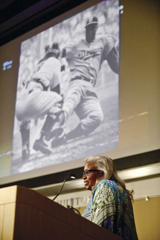 Hour photo / Erik TrautmannThe University of Connecticut-Stamford celebrates its 10th annual Black History Month Celebration Thursday with Keynote Speaker Sharon Robinson, daughter of baseball legend Jackie Robinson.