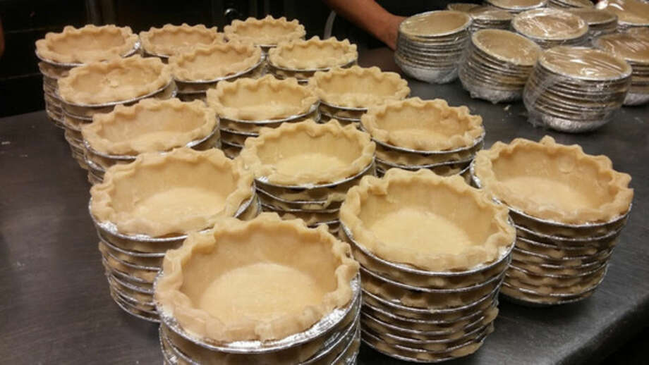 Photo by Frank WhitmanPie crusts ready for filling at Michele's Pies in Norwalk.