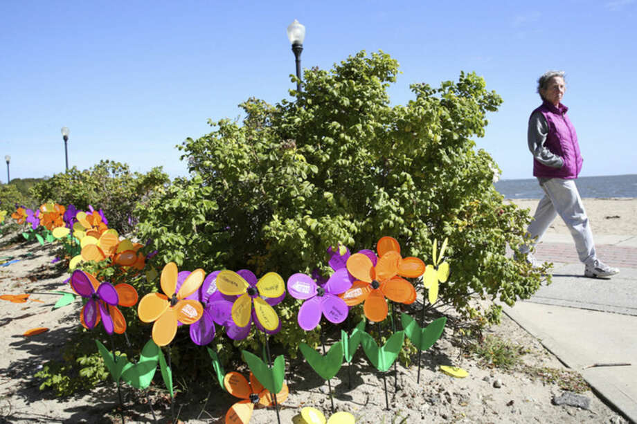 Hour photo/Chris Palermo. A woman walks by the display of flowers at the Walk to End Alzheimer's at Calf Pasture Beach Sunday morning.