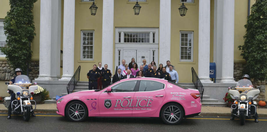 Contributed photoA pink police decal vehicle that was donated to the Westport Police Department for the month of October.