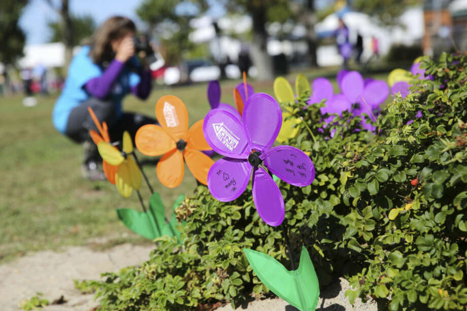 Hour photo/Chris PalermoA supporter takes a picture of the display of flowers at the Walk to End Alzheimer's event at Calf Pasture Beach Sunday morning.