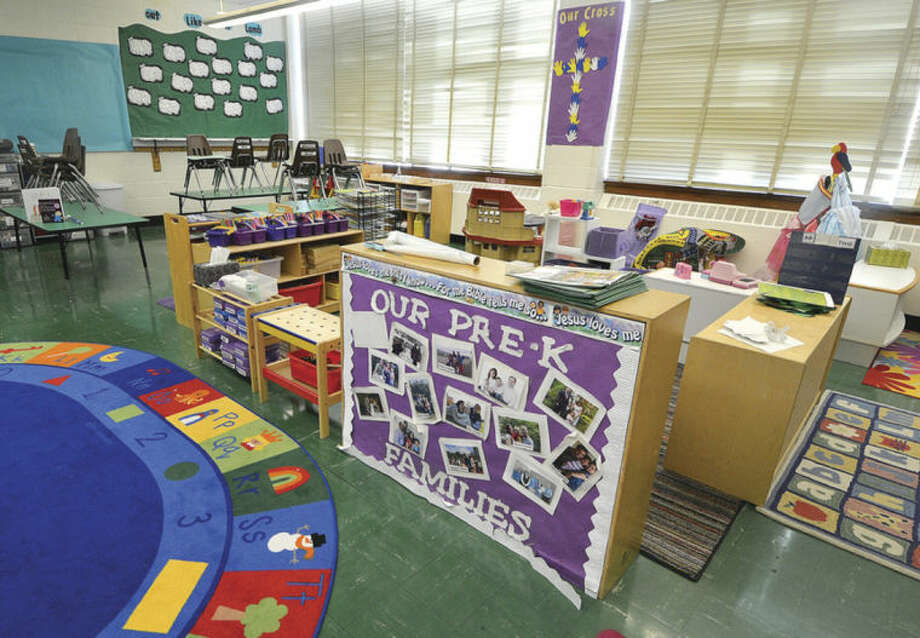 Hour photo / Alex von KleydorffA Pre-K classroom is shown at All Saints School, which closed its daycare Feb. 28 to refocus on its pre-kindergarten program.