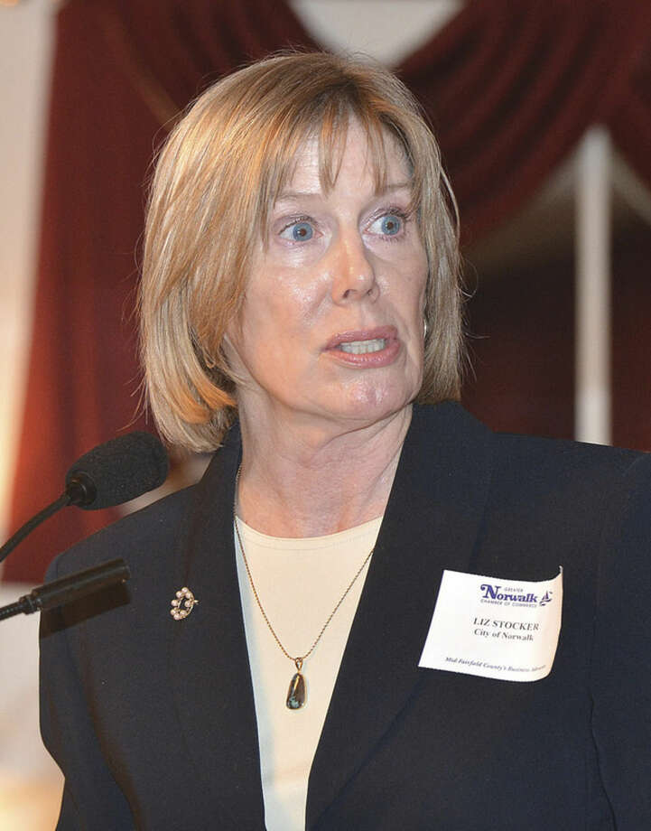 Hour Photo/Alex von Kleydorff Elizabeth Stocker, Director of Economic Development, City of Norwalk speaks during the Greater Norwalk Chamber of Commerce 2015 Economic Outlook and Development Review