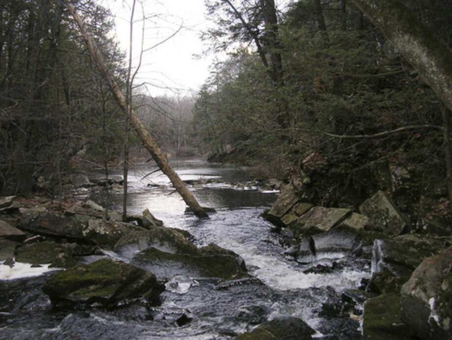 Photo by Rob McWilliamsThe Saugatuck River below the falls in Redding.