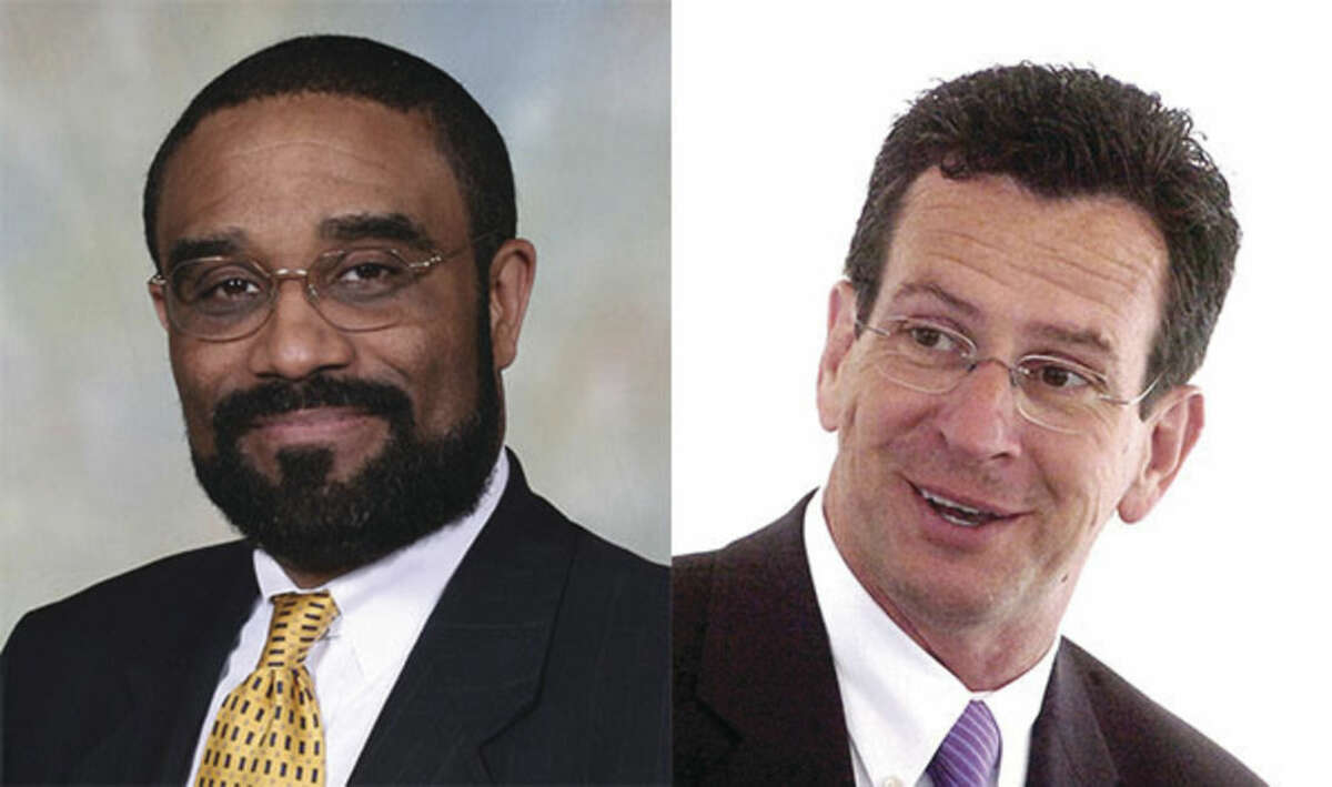 Rep. Bruce V. Morris, D-140 (left) and the Black & Puerto Rican Caucus endorsed Gov. Dannel P. Malloy (right) for governor Wednesday.