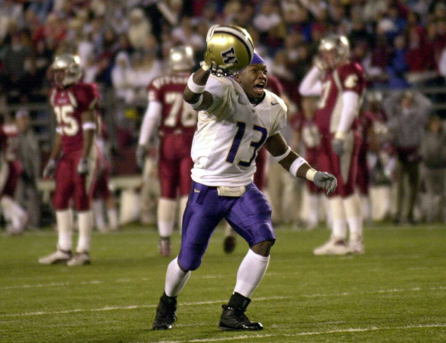 PULLMAN, WA - NOVEMBER 23:  Nate Robinson #13 of the Washington Huskies celebrates after they defeated the Washington State Cougars 29-26 in triple overtime on November 23, 2002 at Martin Stadium in Pullman Washington. (Photo by Otto Greule Jr/Getty Images) Photo: Otto Greule Jr/Getty Images