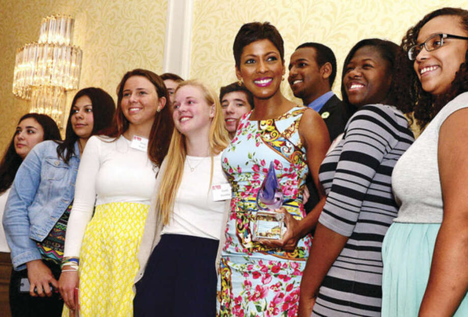 Hour photo / Erik Trautmann Tamron Hall, a co-host on NBC's TODAY show and host of MSNBC's NewsNation, was honored at the Domestic Violence Crisis Center's 12th annual Voices of Courage Spring Luncheon at the Stamford Marriott Hotel Thursday.
