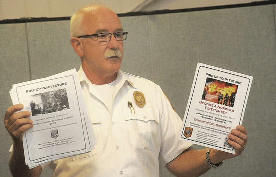 Hour photo/Matthew VinciThe Norwalk Branch, NAACP held its general membership meeting Tuesday at Calvary Baptist Church one guest speaker was Chief Denis McCarthy of the Norwalk Fire Department.