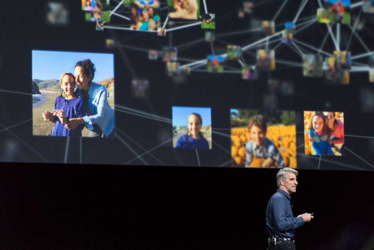 Craig Federighi addresses audience members during the Apple World Wide Developers Conference at the Bill Graham Civic Auditorium in San Francisco, Calif. on Monday, June 13, 2016.