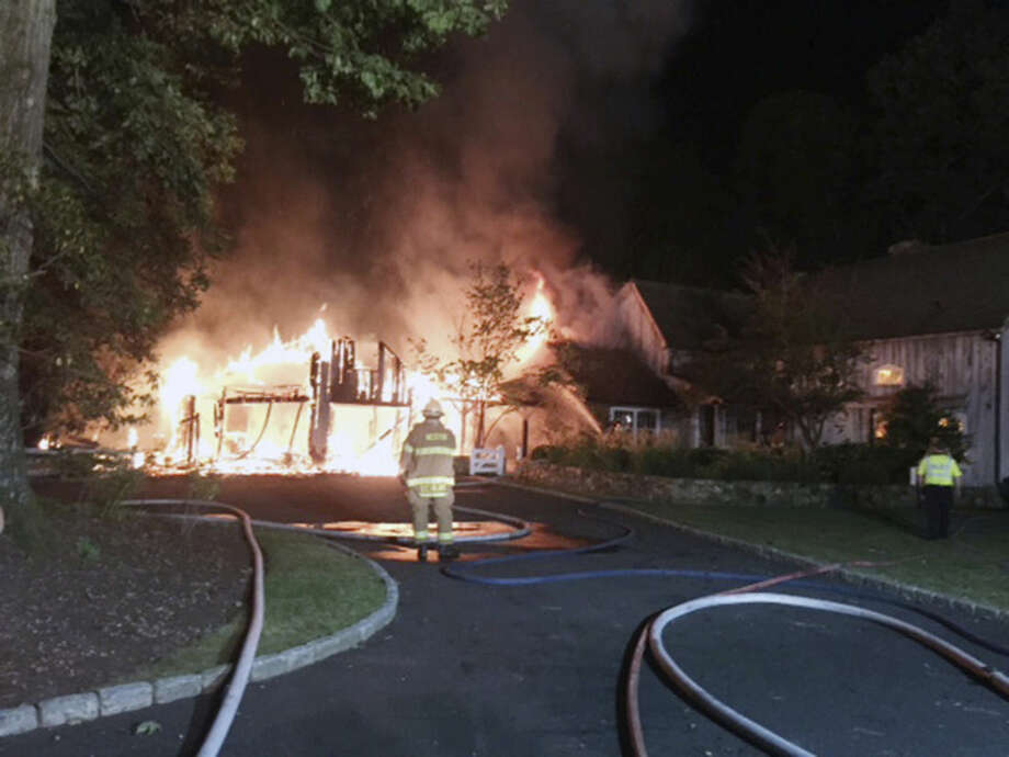 We responded to a report of a structure fire at 11:48pm last night on Catrbrier Rd. This is a picture of what our first responders found upon arrival. The exterior garage and adjoining breezeway were fully involved. The fire was completely knocked down at 00:38 and recalled at 01:28. Thanks to Georgetown Volunteer Fire Department Westport Fire Department and Wilton Fire Department for providing mutual aid assistance.